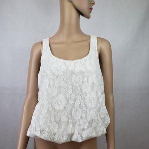 🔴SALE🔴 Mimi Chica White Lace Floral Blouse Sz M